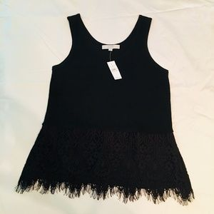 NWT LOFT Black Sweater Tank Top with Lace Edging